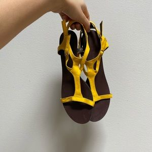 Michael Antonio Yellow Wedge Sandals